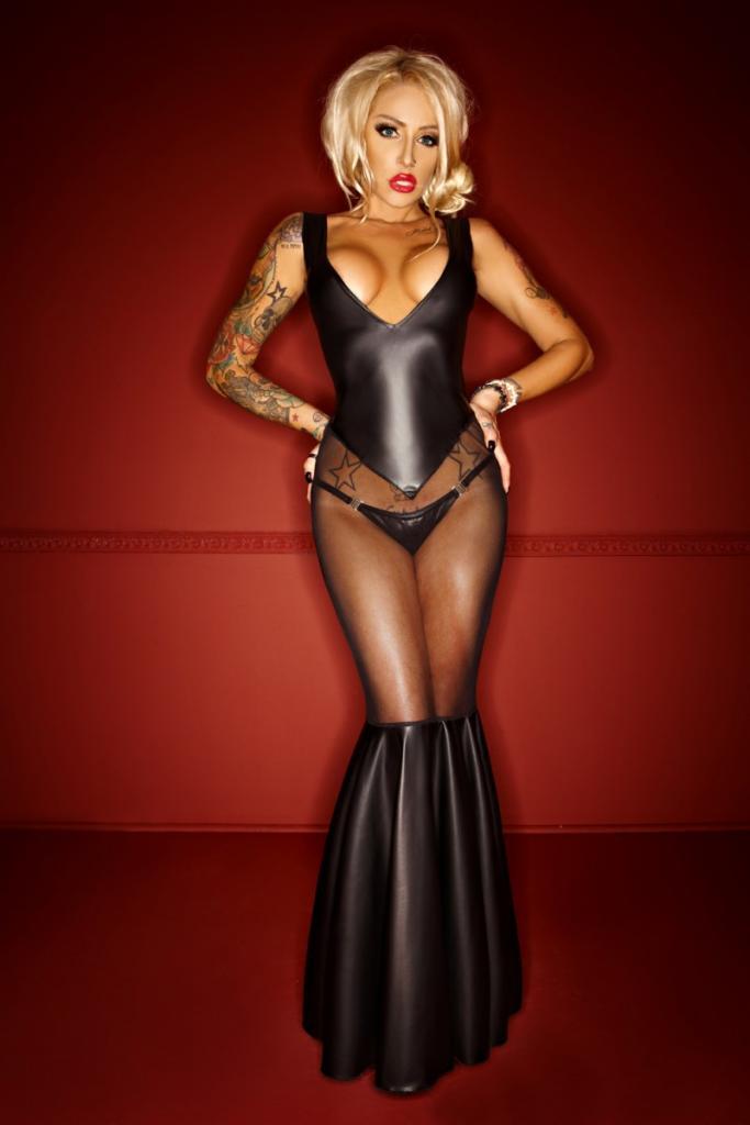 schwarzes langes Kleid F101 von Noir Handmade   Clubwear ...